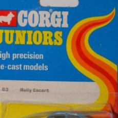 Coches a escala: CORGI JUNIORS WHIZZWHEELS 63 RALLY ESCORT NUEVO EN BLISTER. Lote 95884111