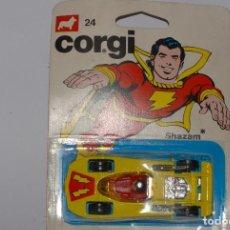 Coches a escala: CORGI TOYS: SHAZAM CAPITÁN MARVEL QUÉ DEMONIOS: DC COMICS 1979: NUEVO EN BLISTER SIN ABRIR. Lote 95884919