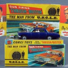 Coches a escala: THE MAN FROM UNCLE GUN FIRING THRUSH BUSTER CORGI TOYS OLDSMOBILE SUPER 88 1/43 CAJA REPRO 497 1966. Lote 120915723