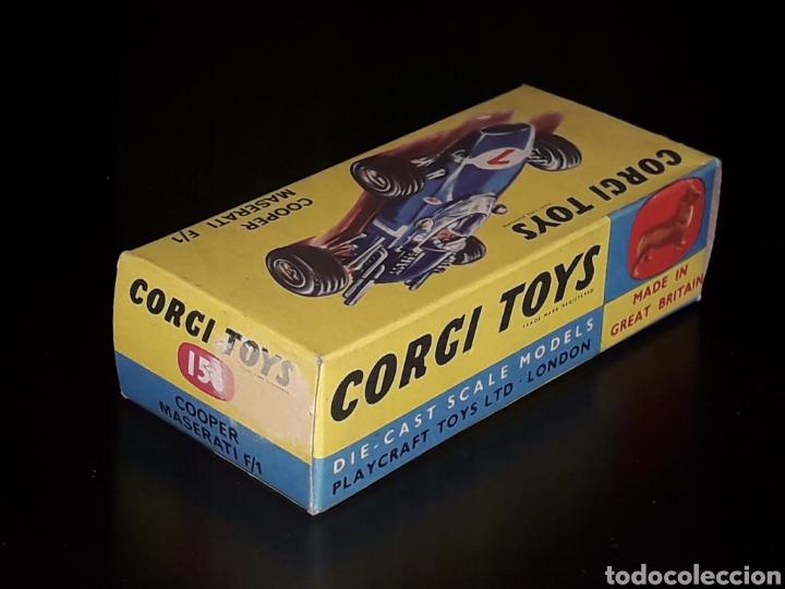 Coches a escala: Caja vacía empty box Cooper Maserati F-1 nº 156, esc. 1/43, Corgi Toys. Original años 60. - Foto 3 - 141461486