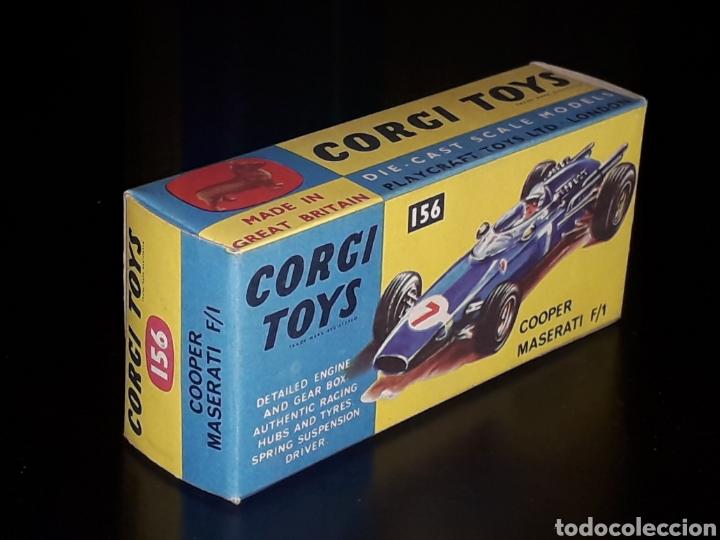 Coches a escala: Caja vacía empty box Cooper Maserati F-1 nº 156, esc. 1/43, Corgi Toys. Original años 60. - Foto 5 - 141461486