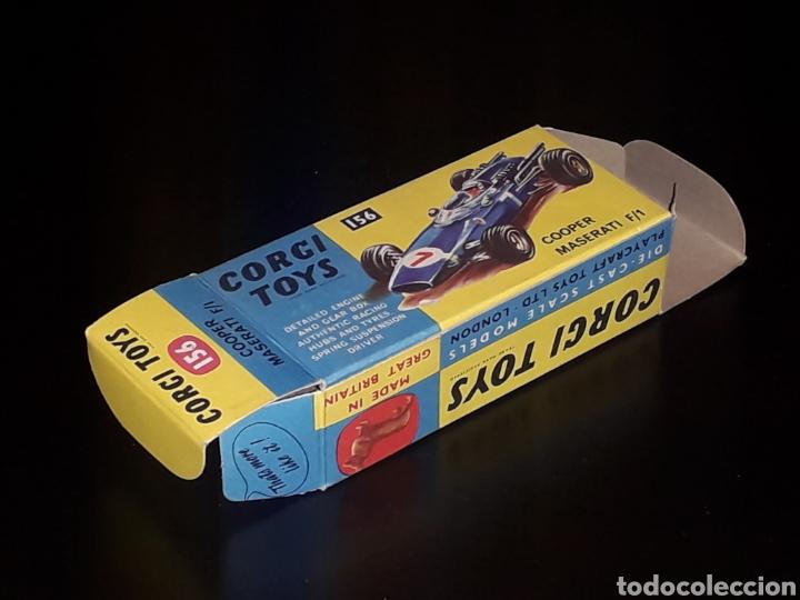 Coches a escala: Caja vacía empty box Cooper Maserati F-1 nº 156, esc. 1/43, Corgi Toys. Original años 60. - Foto 6 - 141461486