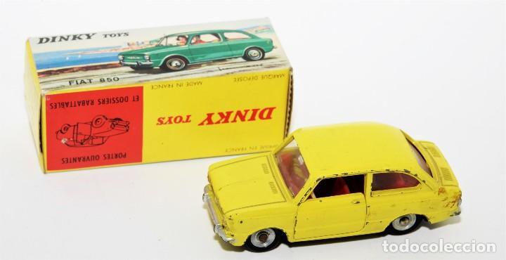 Coches a escala: DINKY TOYS 509 - FIAT 850 AMARILLO - INTERIOR ROJO - AÑOS 60 - CON CAJA - Foto 2 - 120190631