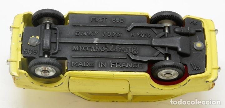 Coches a escala: DINKY TOYS 509 - FIAT 850 AMARILLO - INTERIOR ROJO - AÑOS 60 - CON CAJA - Foto 7 - 120190631