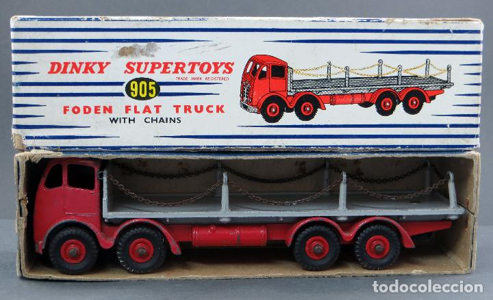 CAMIÓN FODEN FLAT TRUCK DINKY SUPERTOYS WITH CHAINS CON CAJA 905 1/43 MADE IN ENGLAND (Juguetes - Coches a Escala 1:43 Dinky Toys)