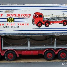 Coches a escala: CAMIÓN FODEN FLAT TRUCK DINKY SUPERTOYS WITH CHAINS CON CAJA 905 1/43 MADE IN ENGLAND . Lote 120418111