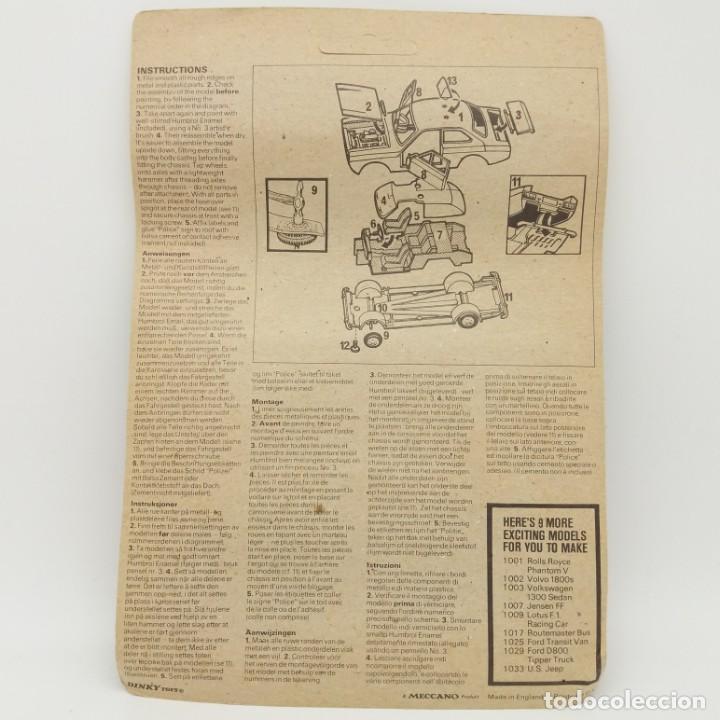 Coches a escala: Ford Escort Metal Action Kit 1004 de Dinky Toys Meccano - ¡Nuevo! Original de época - Unpunched - Foto 2 - 171118758