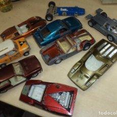 Lote de 9 coches Pilen 1/43 años 70 para restaurar o piezas.Seat 124,Mini Cooper,Porsche...etc.