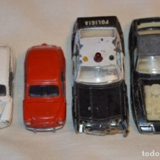 Coches a escala: LOTE 4 COCHES VARIADOS DE PILEN -- ANTIGUOS - MADE IN SPAIN - ORIGINALES Y ANTIGUOS. Lote 182968712