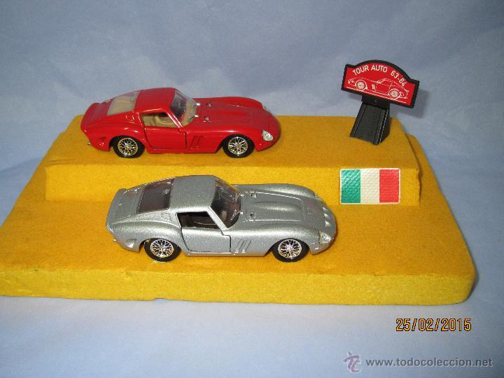 Coches a escala: Peana con Pareja de FERRARI 250 GTO Tour Auto 1963-64 en Escala 1/43 - Año 1980s. - Foto 3 - 47945657