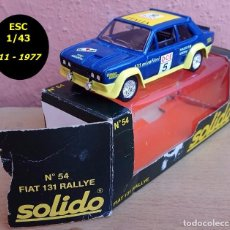 Coches a escala: SOLIDO REF 54 NOVIEMBRE DE 1977 - FIAT 131 ABATH RALLY O.C.E - ANTIGÜEDAD CASI 40 AÑOS. Lote 95754079