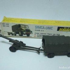 Coches a escala: SIMCA UNIC S.U.M.B 4X4 - CAMION + CAÑON105 - SOLIDO. Lote 115429563