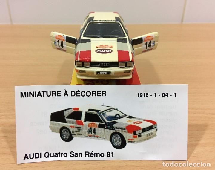 Coches a escala: COCHE SOLIDO Nº 65 / 1215 - AUTO AUDI QUATTRO - SAN REMO (11/1983), CON CAJA. ESCALA 1/43 - Foto 3 - 222845396