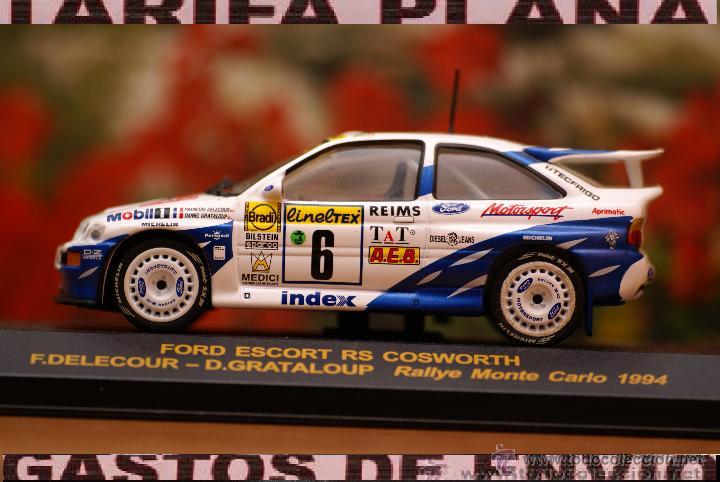 FORD ESCORT RS COSWORTH RALLYE DE MONTECARLO 1994 F.DELECOUR - D.GRATALOUP ESCALA 1:43 DE RALLY CAR (Juguetes - Coches a Escala 1:43 Otras Marcas)