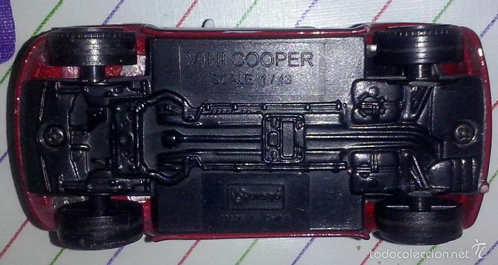 Coches a escala: Burago escala 1/43 Ech ~ Coche BMW Mini Cooper rojo techo retrovisor blanco ~ Carroceria de metal - Foto 2 - 58447466