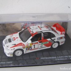Coches a escala: MITSUBISHI LANCER RS EVO, RALLY ARGENTINA 97, MAKINEN, COLECCION RALLY DE ITALIA, EAGLE MOSS ALTAYA. Lote 145730897