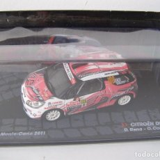 Coches a escala: CITROEN DS2 R3 DEL RALLY MONTECARLO 2011, COLECCION RALLY DE ITALIA, EAGLE MOSS ALTAYA. Lote 111586452