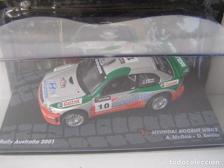 HYUNDAI ACCENT WRC2, RALLY DE AUSTRALIA DEL 2001, COLECCION DE ITALIA, EAGLE MOSS ALTAYA, 1/43 (Juguetes - Coches a Escala 1:43 Otras Marcas)