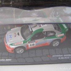 Coches a escala: HYUNDAI ACCENT WRC2, RALLY DE AUSTRALIA DEL 2001, COLECCION DE ITALIA, EAGLE MOSS ALTAYA, 1/43. Lote 154955865
