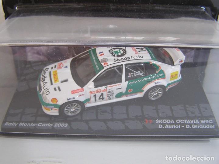 SKODA OCTAVIA WRC RALLY DE MONTECARLO 2003, COLECCION RALLY DE ITALIA, EAGLE MOSS ALTAYA 1/43. (Juguetes - Coches a Escala 1:43 Otras Marcas)