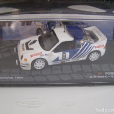 Coches a escala: FORD RS 2000 DEL RALLY DE SUECIA DEL 86, COLECCION RALLY DE ITALIA, EAGLE MOSS ALTAYA 1/43.. Lote 179152210