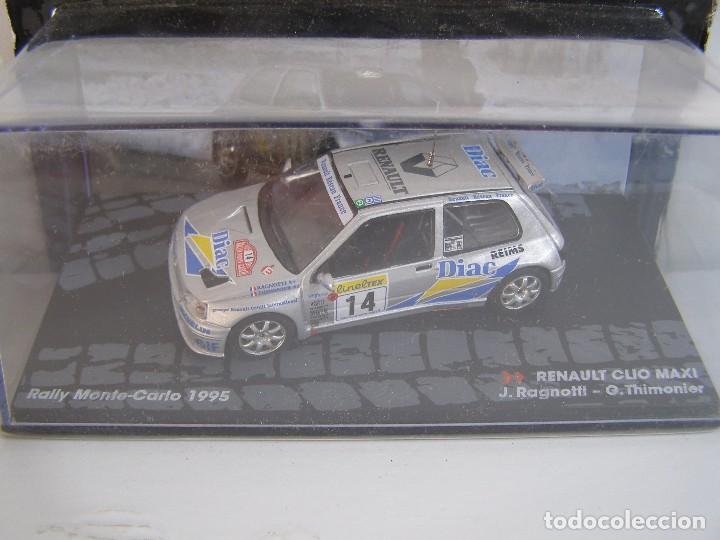 RENAULT CLIO MAXI, RALLY MONTECARLO 95, RAGNOTTI, COLECCION RALLY DE ITALIA, EAGLE MOSS ALTAYA 1/43. (Juguetes - Coches a Escala 1:43 Otras Marcas)