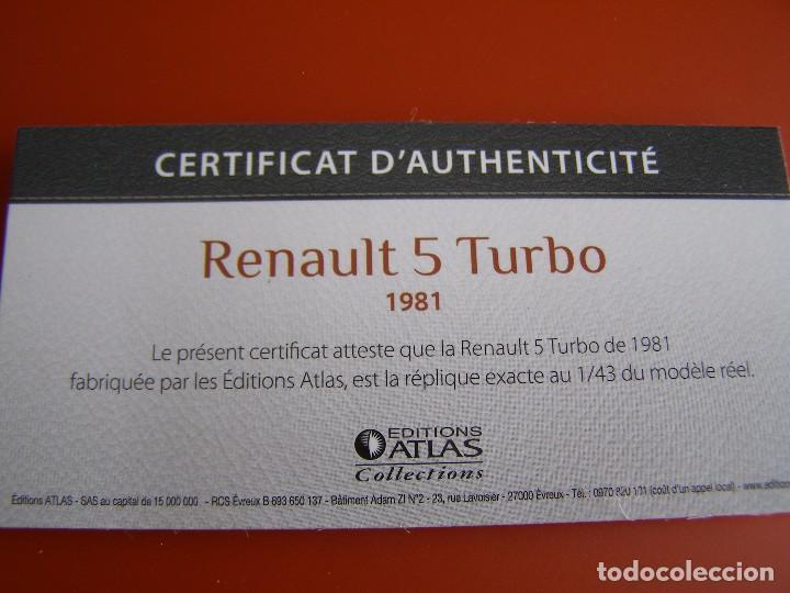 Coches a escala: RENAULT 5 TURBO DE 1981, EDICIONES ATLAS , COLECCIÓN SUIZA, ESCALA 1/43 - Foto 4 - 153914284