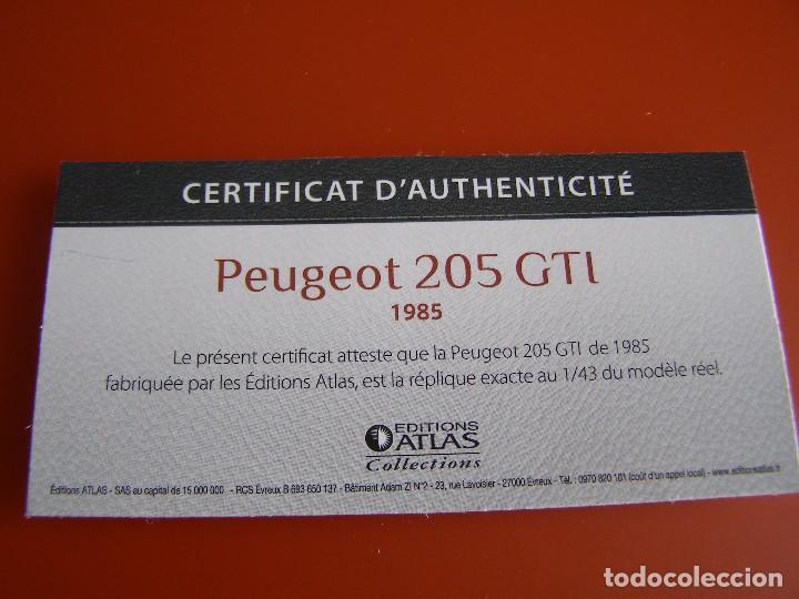 Coches a escala: PEUGEOT 205 GTI DE 1985, EDICIONES ATLAS , COLECCIÓN SUIZA, ESCALA 1/43 - Foto 4 - 89537048