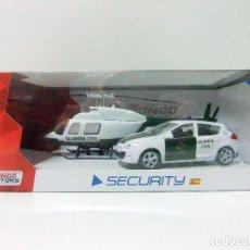 Coches a escala: RENAULT MEGANE + HELICOPTERO GUARDIA CIVIL - MONDO MOTORS SECURITY PACK SET 1:43 - COCHE POLICIA. Lote 102369935