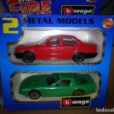 Coches a escala: BBURAGO SERIE STREET FIRE (1:43) EN METAL. LOTE 2 COCHES BMW 535I-CORVETTE. Lote 124142171