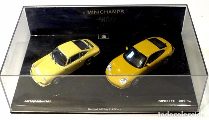 Coches a escala: SET DE COCHES PORSCHE 911 (1963) PORSCHE 911 (2003) 40 ANIVERSARIO, MINICHAMPS, ED LIMITADA, NUEVO * - Foto 2 - 143641022
