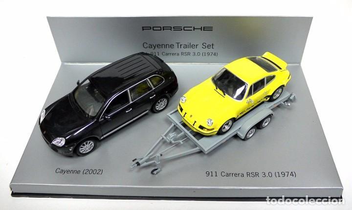 TRAILER SET COCHES PORSCHE CAYENNE 2002 Y 911 CARRERA RSR 3.0 1974,NUEVO,1:43,ED. LTDA. C20 602 16 * (Juguetes - Coches a Escala 1:43 Otras Marcas)