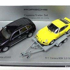 Coches a escala: TRAILER SET COCHES PORSCHE CAYENNE 2002 Y 911 CARRERA RSR 3.0 1974,NUEVO,1:43,ED. LTDA. C20 602 16 *. Lote 143693570