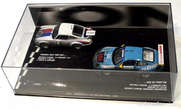 Coches a escala: SET DE COCHES PORSCHE 911 RSR 2.8 1973 Y PORSCHE 911 GT3 RS 2003 AT 24H DAYTONA, NUEVO, 1:43 * - Foto 2 - 143701006