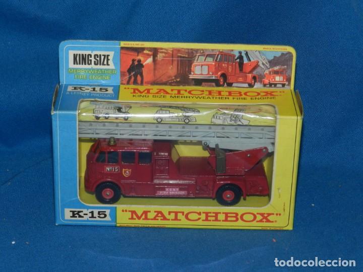 (M) MATCHBOX K-15 MERRYWEATHER FIRE ENGINA ( COCHE BOMBERO ) CON CAJA, BUEN ESTADO (Juguetes - Coches a Escala 1:43 Otras Marcas)