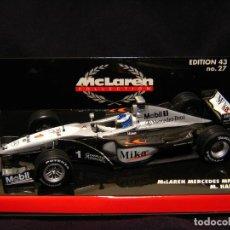 Coches a escala: MCLAREN MERCEDES MP4/14 #1 M. HAKKINEN F1 WORLD CHAMPION 1999 1:43 MINICHAMPS. Lote 152279038