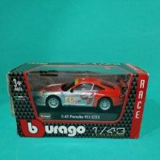 Coches a escala: COCHE ESCALA 1:43 PORSCHE 911 GT3 RACE. MARCA BURAGO NUEVO EN CAJA. Lote 176698532