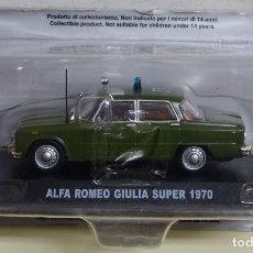 Voitures à l'échelle: COCHE POLICIAL. POLICIA DE ITALIA CARABINIERI. 1:43. ALFA ROMEO GIULIA SUPER 1970. PRECINTADO 140 GR. Lote 184134443