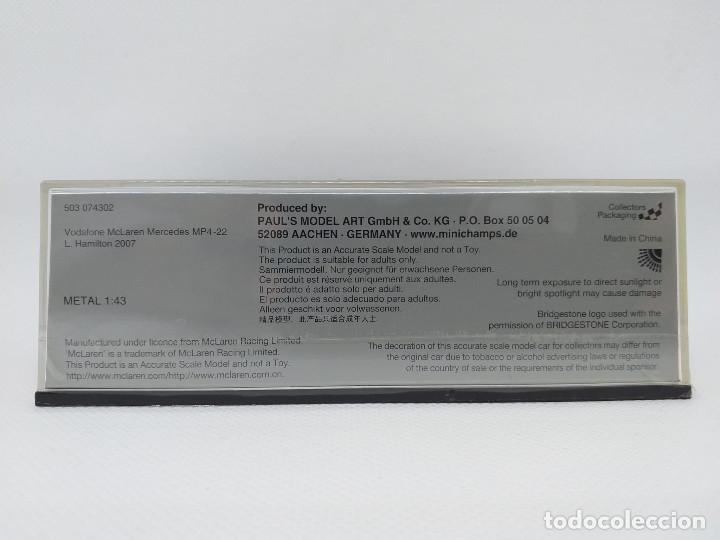 Coches a escala: MINICHAMPS 1:43 - Vodafone McLaren Mercedes MP4-22 - L.Hamilton 2007 - Foto 3 - 194288151