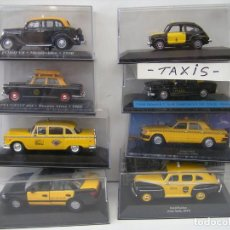 Coches a escala: LOTE DE 8 COCHES ESCALA 1/43 - TAXIS DE: BARCELONA, NEW-YORK, SANTIAGO DE CHILE, BUENOS AIRES, ETC.. Lote 194508803