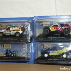 Coches a escala: RALLY DAKAR LOTE 4 COCHES CON DEFECTOS RENAULT DUSTER PEUGEOT 2008 FOTON SAUVANA YAMAHA 700R 1:43. Lote 210588021