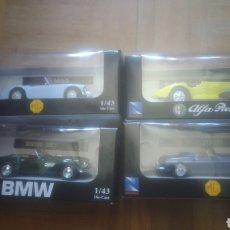 Coches a escala: NEW RAY. COLECCION CLASICOS. MGA, BMW 507, ALFA ROMEO DE 1938 Y MGB DE 1967. A ESTRENAR VER FOTOS. Lote 212844123