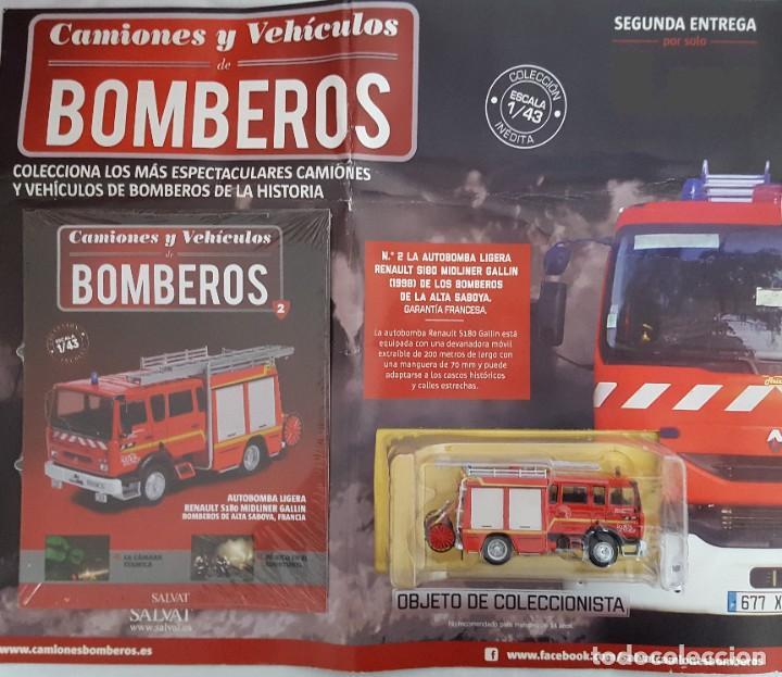 Coches a escala: CAMIÓN DE BOMBEROS AUTOBOMBA LIGERA RENAULT S180 MIDLINER GALLIN, BOMBEROS DE ALTA SABOYA FRANCIA - Foto 2 - 232598925