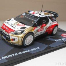 Coches a escala: COCHE CITROEN DS3 WRC RALLY MONTECARLO IXO CAR RALLYE LOEB ELENA 1:43 1/43. Lote 254101770