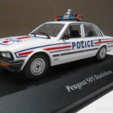 Coches a escala: COCHE POLICIA PEUGEOT 505 DANIELSON POLICE 1/43 1:43 ATLAS CAR POLIZEI ALFREEDOM. Lote 245020105