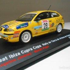 Coches a escala: COCHE SEAT IBIZA CUPRA 1/43 RALLY ARTESA SEGRE 2000 JIMENEZ PUJOL CAR ALFREEDOM. Lote 254167000