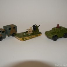 Coches a escala: MATCHBOX 3X VEHICULOS MILITARES 3 INCHES 1:64 SUPERFAST STOUT, SWAMP RAT, AUSTIN RADIO TRUCK . Lote 57259423