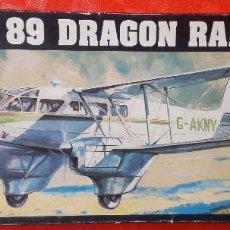 Coches a escala: ANTIGUA MAQUETA - AVION D.H. 89 DRAGON RAPIDE - ESCALA 1/72 - EN SU CAJA ORIGINAL. Lote 96427239
