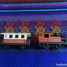 Coches a escala: LOCOMOTORA STEAM LOCO Y VAGÓN DE PASAJEROS PASSENGER COACH. MATCHBOX SUPERFAST 1978. BE.. Lote 102606691