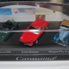 Coches a escala: CARARAMA SET 3 COCHES NUEVOS EN CAJA 1/71 1:72 LOTUS EUROPA MORGAN PLUS EIGHT MGB CONVERTIBLE. Lote 110102467